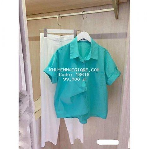 áo sơ mi nữ cộc tay màu xanh cá tính