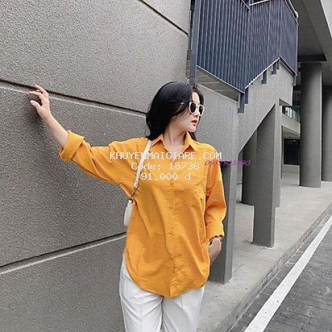 áo sơ mi nữ dài tay vạt tôm chất đũi nhiều màu