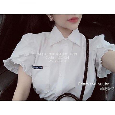 Áo sơ mi trắng tay bồng cộc tay chất cotton mềm mại