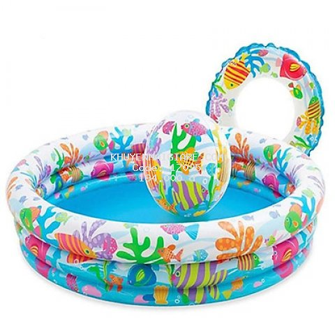Bể bơi phao tròn 3 tầng kèm bóng và phao bơi cho bé