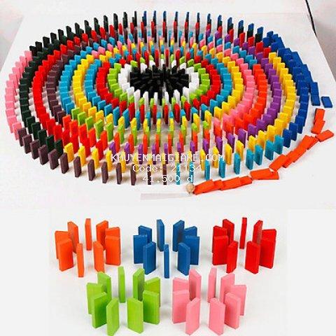 Bộ 120 miếng ghép Domino chất liệu gỗ đồ chơi giáo dục