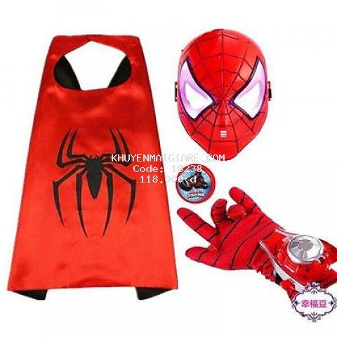 Bộ áo choàng siêu nhân nhện kèm mặt nạ và gang tay cho bé
