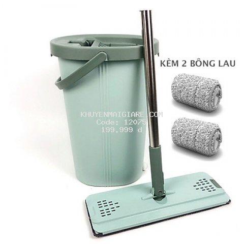 BỘ LAU NHÀ THÔNG MINH TỰ VẮT BLNEC hai ngăn vắt và giặt, xả nước tiện lợi ở đáy thùng, bông lau tĩnh điện MICRO FIBER 33cm có hai đầu móc chắc chắn, nắp thùng dễ tháo rời vệ sinh