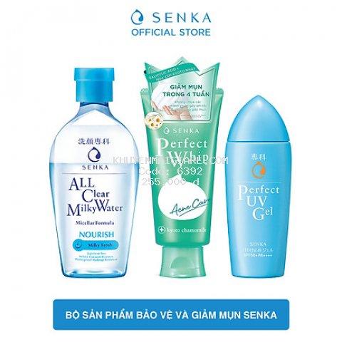 Bộ sản phẩm bảo vệ và giảm mụn Senka (Sữa tẩy trang Milky 230ml + Sữa rửa mặt Acne 100g + Chống nắng UV Gel 80ml)