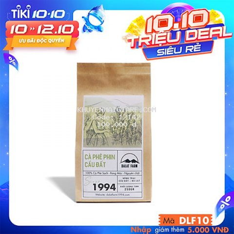 Cà Phê Phin Cầu Đất (Arabica & Robusta) Rang Xay Mộc Sạch Nguyên Chất Chuẩn Gu Người Việt - Túi 250Gr (Dạng Bột)