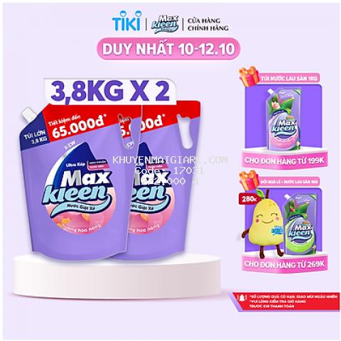 Combo 2 Túi Nước Giặt Xả Maxkleen Hương Hoa Nắng (3.8kg/túi)