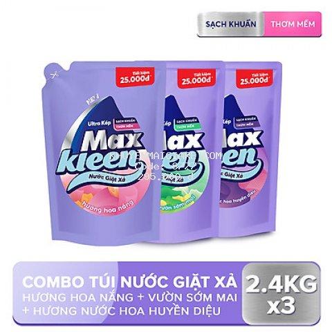 Combo 3 Túi Nước Giặt Xả Maxkleen 2.4kg/túi: 1 Hương Hoa nắng + 1 Hương Vườn sớm mai + 1 Hương Huyền diệu