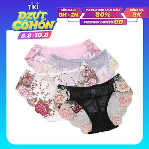 Combo 5 quần lót nữ chất ren lưới thêu hoa cao cấp - ZQ1136