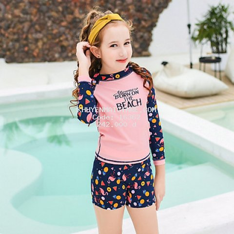 Đồ bơi cho bé gái quần short dài tay size từ 28kg đến 45kg