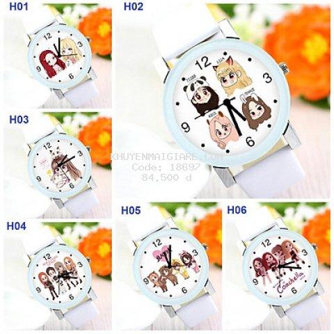 Đồng hồ Blackpink hình chibi dây trắng đeo tay nam nữ