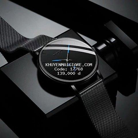 Đồng hồ nam mẫu Kim Xanh Mới mặt mỏng , dây kim loại