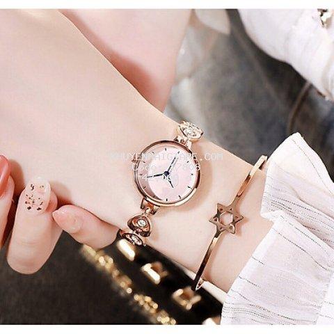 Đồng hồ thời trang nữ mặt trái tim đính cườm tuyệt đẹp F487