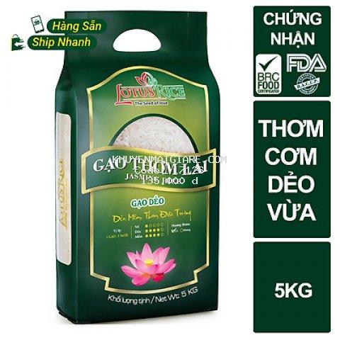 Gạo Thơm Lài Lotus Rice 5kg - Cơm mềm dẻo vừa - Chuẩn xuất khẩu