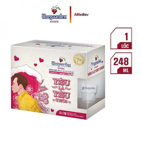 Hộp Love Is Love 6 Chai Hoegaarden Rosee (248ml/ Chai) - Tặng Kèm Ly
