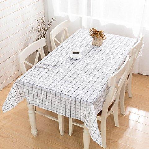 Khăn trải bàn PVC không thấm nước lót bàn ăn - Trắng