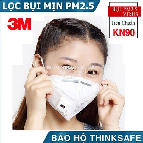KHẨU TRANG Y TẾ 3M 9001V CÓ VAN, LỌC BỤI MỊN PM2.5
