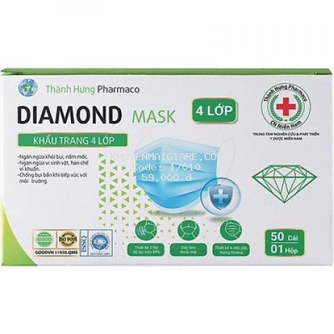 Khẩu Trang Y Tế Kháng Khuẩn Diamond Mask 4 Lớp (Hộp 50 Cái)