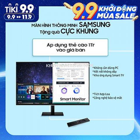 Màn Hình Thông Minh Smart Monitor Samsung LS27AM500NEXXV 27inch/Full HD (1920x1080) 8ms/60Hz/VA/Tích Hợp Loa/Hệ Điều Hành Tizen - Hàng Chính Hãng