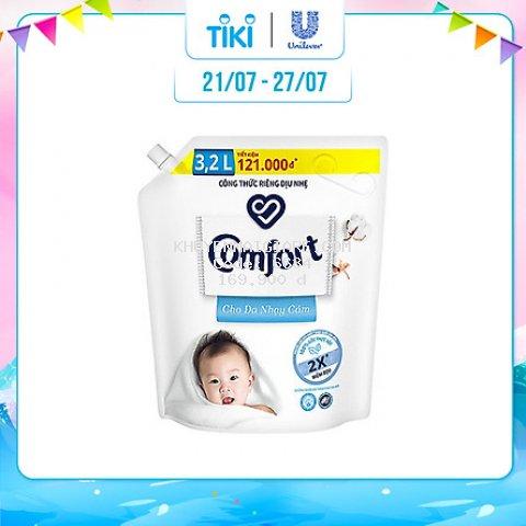 Nước xả vải em bé Comfort cho da nhạy cảm với công thức riêng dịu nhẹ 100% nguồn gốc thực vật, Túi 3.2L