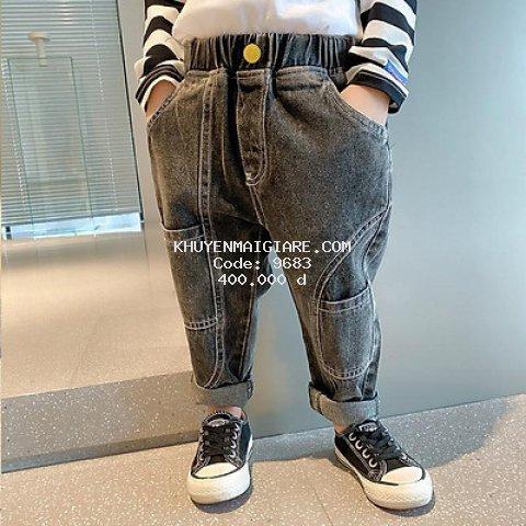 QJ52Size 90-130 (9-27kg)Quần jean thụng ngố bé trai, k co giãn Thời trang trẻ Em hàng quảng châu