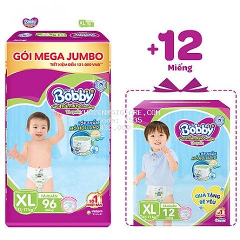 Tã quần Bobby Mega Jumbo XL96 - Siêu mỏng khô thoáng bất ngờ - Tặng thêm 12 miếng
