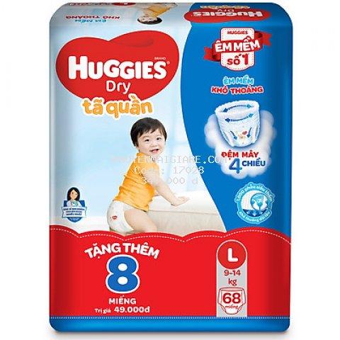 Tã Quần Huggies Dry Gói Cực Đại L68 (68 Miếng) - Tặng 8 miếng