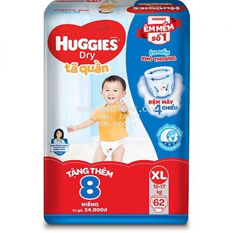 Tã Quần Huggies Dry Gói Cực Đại XL62 (62 Miếng) - Tặng 8 miếng