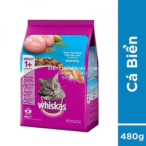 Thức ăn mèo Whiskas vị cá biển túi 480g