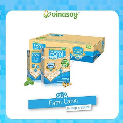 Thùng sữa đậu nành Fami Canxi Nguyên vị (200ml x 36 hộp