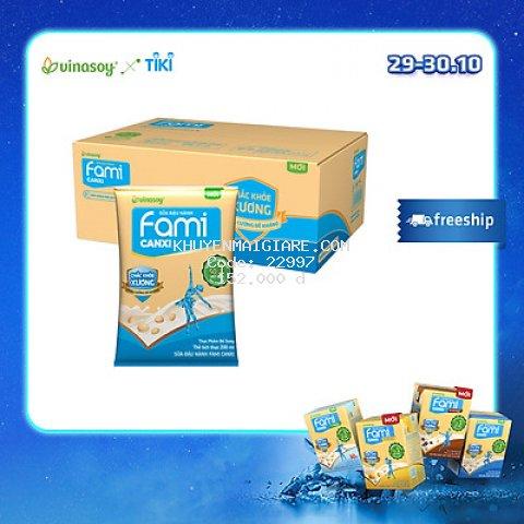 Thùng Sữa Đậu Nành Fami Canxi Nguyên vị (200ml x 40 Bịch)