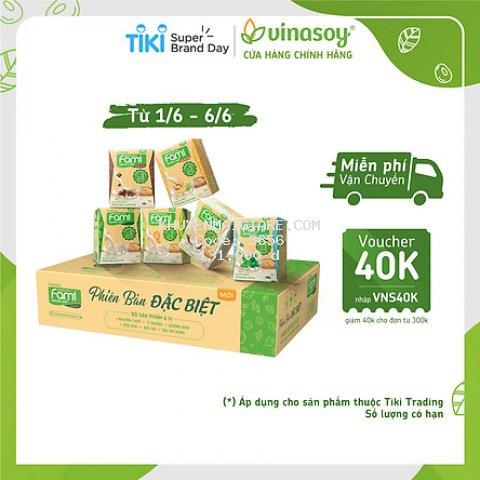 Thùng Sữa Đậu Nành Fami Nguyên Chất Mix 6 Vị Nguyên Chất, Ít Đường, Tàu Hũ Gừng, Sữa Dừa, Đường Đen, Bạc Hà (200ml x 36 Hộp)