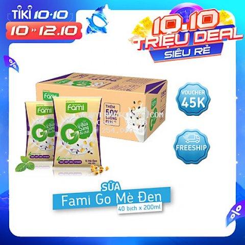 Thùng Sữa Đậu Nành Famigo Mè Đen Nếp Cẩm (200ml x 40 Bịch)