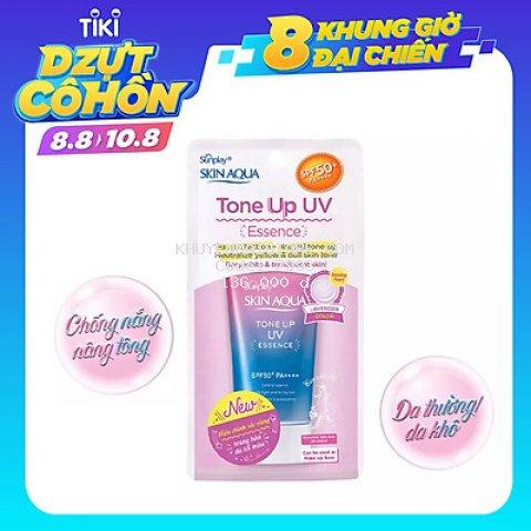 Tinh chất chống nắng nâng tông dành cho da khô/thường Sunplay Skin Aqua Tone Up UV Essence Lavender SPF50+ PA++++ (50g)