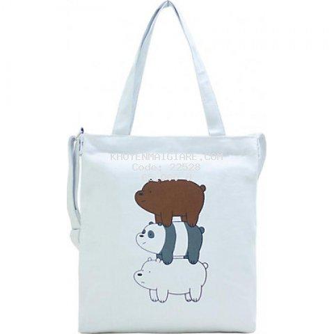 Túi Vải Đeo Chéo Tote Bag Họa Tiết 3 Gấu XinhStore