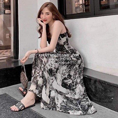 váy 2 dây loang đen trắng dáng xòe tiểu thư