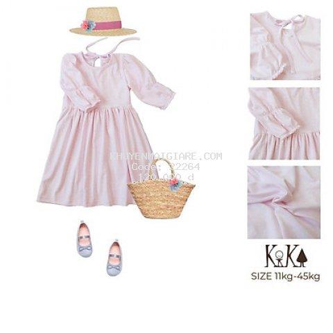 Váy đầm bé gái hồng tay bồng - Size 11-45kg - K135