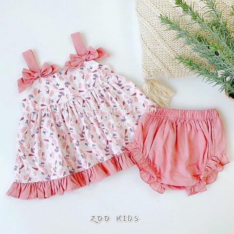 Váy đầm hoa cho bé gái kèm quần chip kiểu 2 dây nơ xinh cho bé từ 8kg đến 20kg