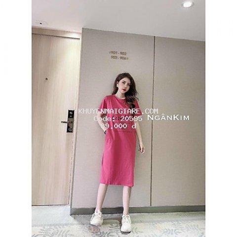 Váy suông nữ cộc tay in chữ cest chic nhiều màu lựa chọn