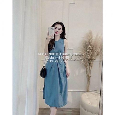 váy suông nữ dáng dài xoắn eo buộc dây sau màu xanh lạ mắt