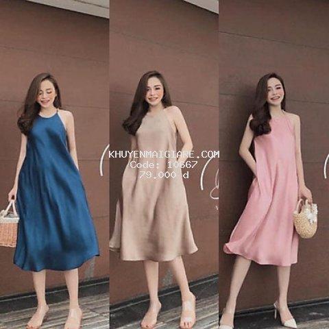 Váy yếm chất lụa dáng dài 3 màu xinh xắn